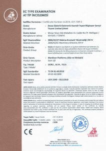 CE stairlift Certificate
