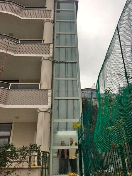 kuyusuz bina dışı asansör