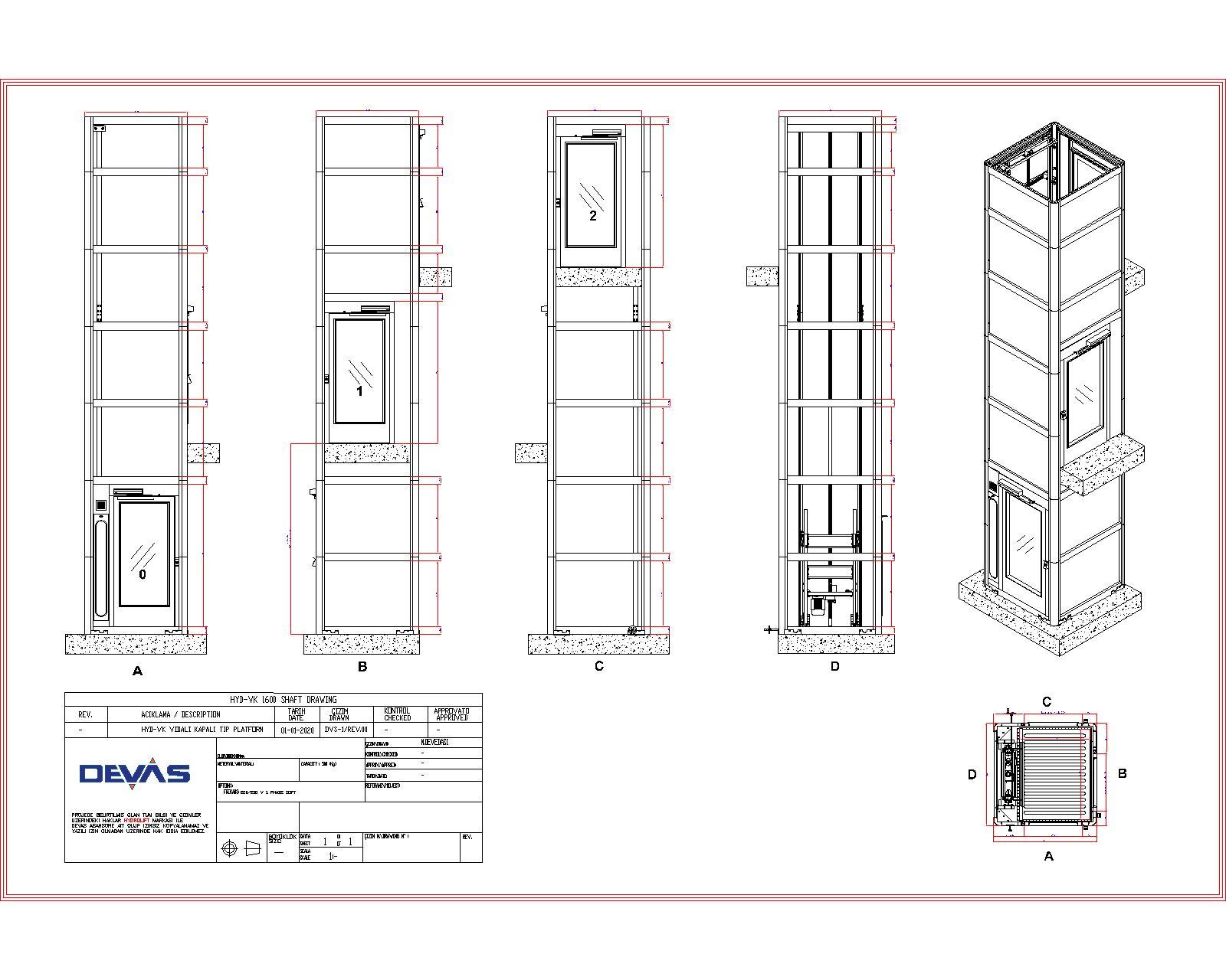 kapalı engelli asansörü ölçüleri