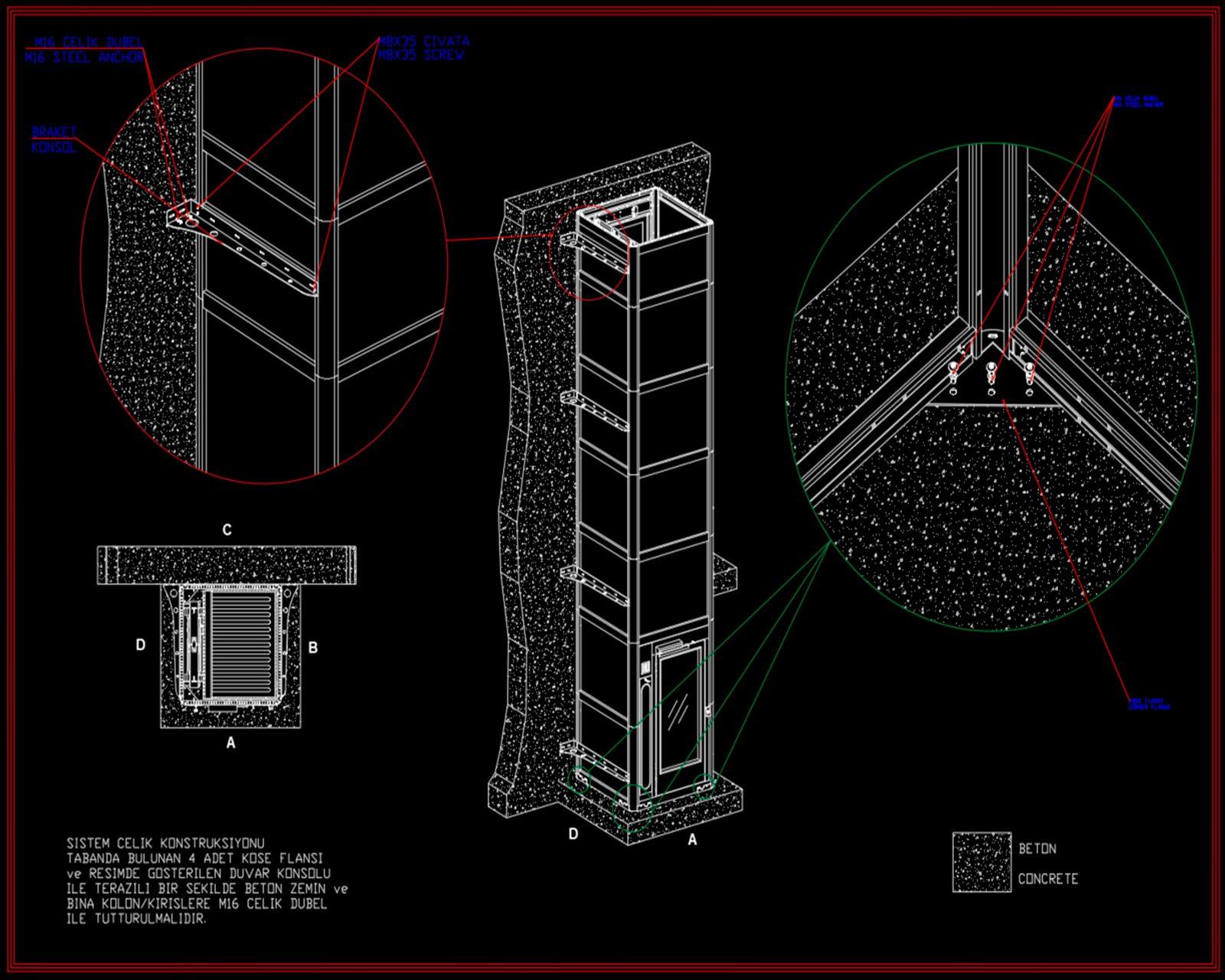 hidrolik engelli platformu dwg